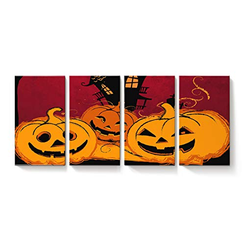 YEHO Art Gallery Modern Canvas Wall Art Rectangle Artworks Home Art Decor,Funny Pumpkins Smile Face Pattern Happy Halloween Canvas Oil Painting,Stretched by Wooden Frame,Ready to Hang 20 x 34inch x 4 ()
