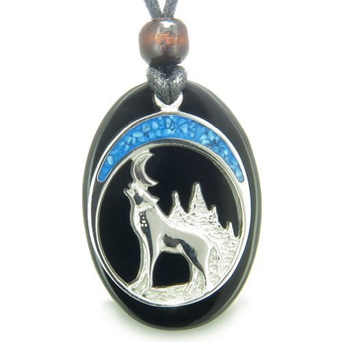 Howling Wolf Moon Amulet Spiritual Black Agate Gemstone Pendant Necklace
