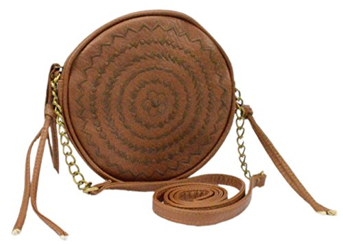 Circle Shoulder Bag Purse (Faux Leather Boho Circle Crossbody Bag, Round Embroidered Hippie Purse w/ Chain Strap (Brown))