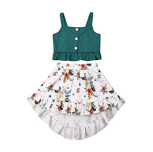 Newborn Baby Girl Short Tops Tanks+Hawaiian Luau Dress Girls Skirts Toddler Outfit Summer Clothes Set (Green, 2-3 Years)