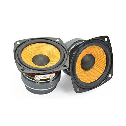 Aiyima 2Pcs 7, 6cm Audio Haut-Parleur HiFi Haut-parleurs Gamme Complète Double Aimant Haut Parleur carré pour PC de Bureau amplificateur DIY 6ohm 25W