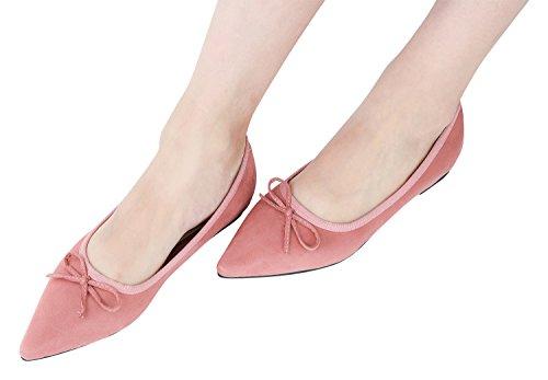 Annakastle Vrouwen Puntige Toe Suedette Klassieke Ballet Flats Schoenen Met Strik Roze