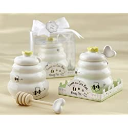 """""""Sweet As Can Bee"""" Ceramic Honey Pot with Wooden Dipper - Baby Shower Gifts & Wedding Favors (Set of 12)"""