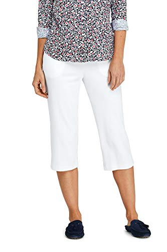 Lands' End Women's Sport Knit Elastic Waist Pull On Capri Pants White