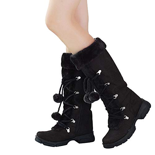 Londony Fashion Boots in Women's Knee-High Suede Lace Up Hairball Shoes Winter Slip-On Snow Boots 705