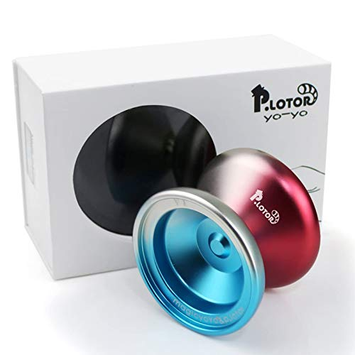 P.LOTOR Unresponsive YOYO, Newest Design V1 Polished Alloy Aluminum Professional Yo-yo Ball with Gift Package (Red & Blue)