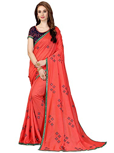 Glory Sarees Women's Vichitra Silk Saree Gajari Free Size ()