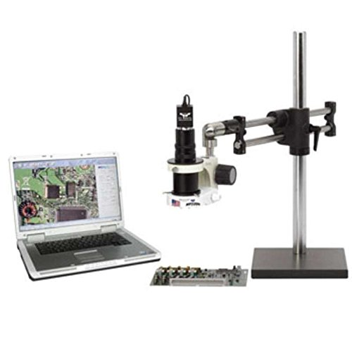 ESD-Safe Macro Zoom Digital Video Inspection System with Dual Arm Base, Dimmable LED Ring Light and 19″ HD LCD Monitor
