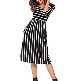 Women's 3/4 Sleeve Striped Dress Elastic Waist Tunic T-Shirt Dress Pocket