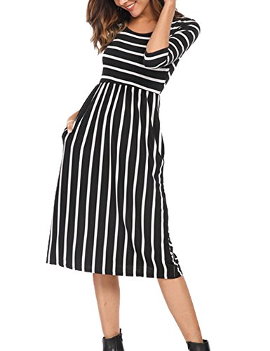 Naggoo Women's 3/4 Sleeve Striped Dress Elastic Waist Tunic T-Shirt Dress with Pocket
