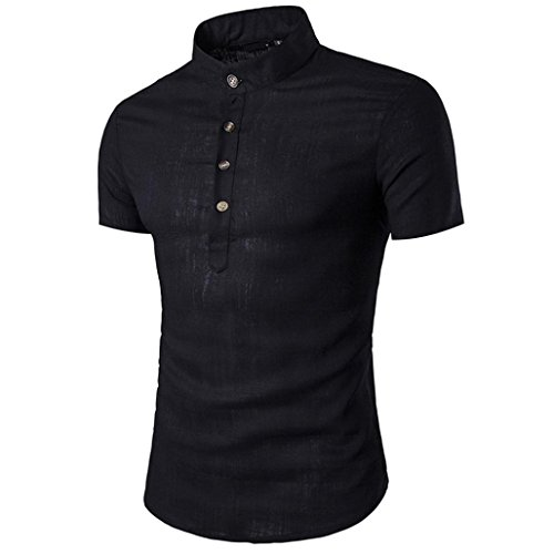 Han Shi Mens Stand Neck Button Blouse Short Sleeve Shirts Ta