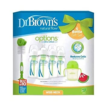 Dr Browns Natural Flow Anti-Colic Vent Bottle Pink Beaker and Teether Set