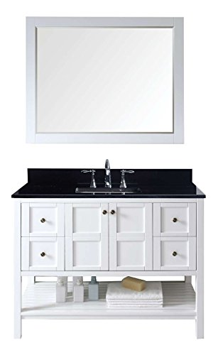 Black Granite Top Set - Virtu USA ES-30048-BGSQ-WH Not Applicable Winterfell 48 inch single Bathroom Vanity In White with Black Galaxy Granite Top & Square Sink with Mirror