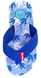 Dino Blue Medium Kids Paw Print Flip Flops fun for Beach, Trail and Pool. Enjoy Your Free Coloring Book After Purchase.