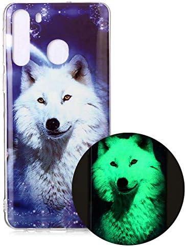 Miagon Leuchtend Luminous Hülle für Samsung Galaxy A21,Fluoreszierend Licht im Dunkeln Handyhülle Silikon Case Handytasche Stoßfest Schutzhülle,Weiß Wolf