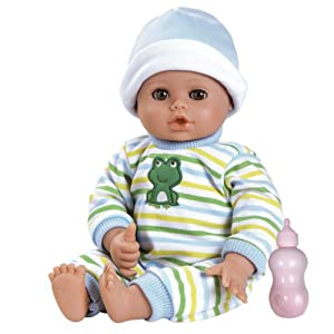 "Adora PlayTime Baby Little Prince Vinyl 13"" Boy Weighted Washable  Cuddly Snuggle Soft Toy Play Doll Gift Set with Open/Close Eyes for Children 1+ Includes Bottle - 41WYBNhoMFL - Adora PlayTime Baby Boy Doll, Little Prince, Washable Toy Doll with Soft Weighted Body and Eyes that Open and Close, Comes with Bottle, 13-inches (Ages 1+)"