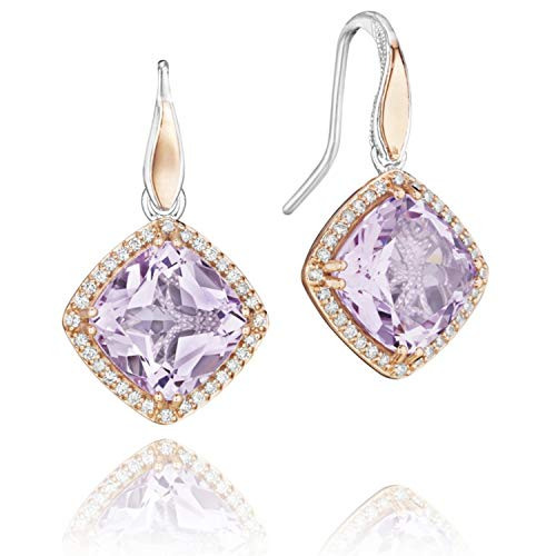 Tacori SE180P13 18K Rose Gold and Sterling Silver Lilac Blossoms Amethyst and Diamond Bloom Drop Earrings