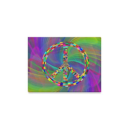 Cool Peace Sign (Stylish Colorful Peace Sign Tie Dye Oil Painting Canvas Print Modern Wall Art for Home)