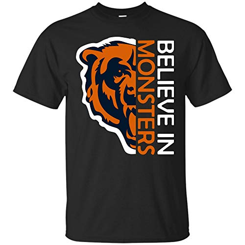 Believe in Monsters Chicago Bears Football Retro T Shirt Hoodie Long Sleeve for Men Women (Unisex T-Shirt;Black;5XL) -