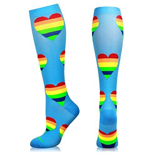 NEWZILL Compression Socks (20-30mmHg) for Men & Women, Best Graduated Athletic Fit for Running, Nurses, Shin Splints, Flight Travel & Pregnancy. Boost Stamina Circulation (Blue Hearts, Small)