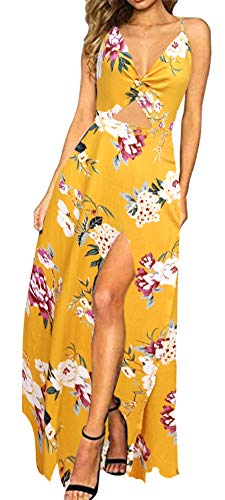 (Zyyfly Doramode Women's Summer V Neck Tie Back Floral Print Split Maxi Long Beach Dress)
