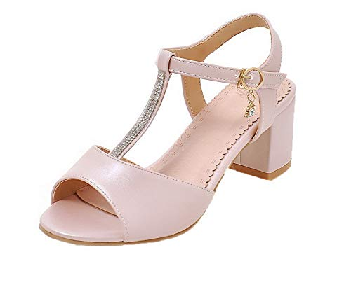 medio Dress Sandals rosa fibbia con Gmxlb009978 Solid Agoolar Women Tacco RYxn0wz7