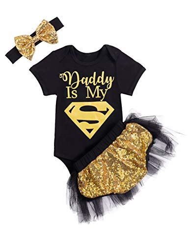 Baby Girls Valentine's Day Outfit Letter Print Daddy's Romper + Sequin Tutu Skirt with Bow Handband 3PCS Clothes Set 0-3 Months Black -