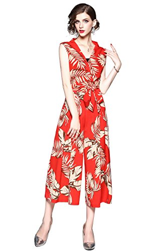 Summer Womens V Neck Tropical Floral Print Sleeveless Jumpsuit Wide Leg Rompers (Jumpsuit Wrap)