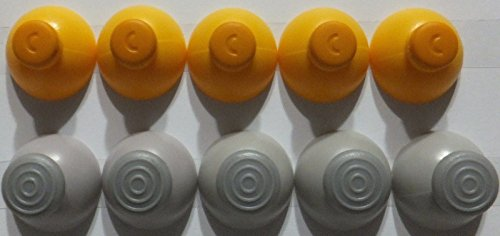 GameCube Joystick Caps 5 Left [Grey] and 5 Right [Yellow] Replacement - Nose Inside Diagram The