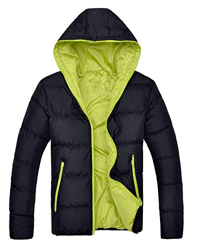 Green Black Hooded Simple Winter Mens Coats Lightweight Outdoor Warm Casual Down Parka Jacket Outerwear pOxqH4