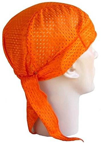 (Solid Orange Vented Made in USA America Air Flow Headwrap Durag Sweatband)