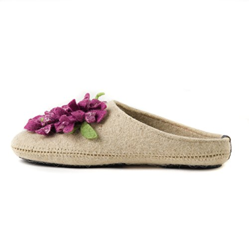 6d8f61338b low-cost Made For You Women's Wool Slippers with Handmade Chrysanthemum  Flower, Non-