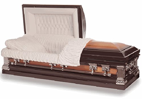 [Funeral Casket - Heritage Bronze Finish with White Interior 18 Gauge Metal Casket - Coffin] (Full Couch Caskets)