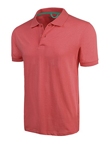 Marq 75 Slim Fit Jersey Polo Shirt - Coral, Large