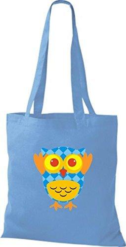 Shirtinstyle Jute Handbag Pretty Colorful Owl Bag With Retro Checkered Stripes Dots Different Light Blue Owl