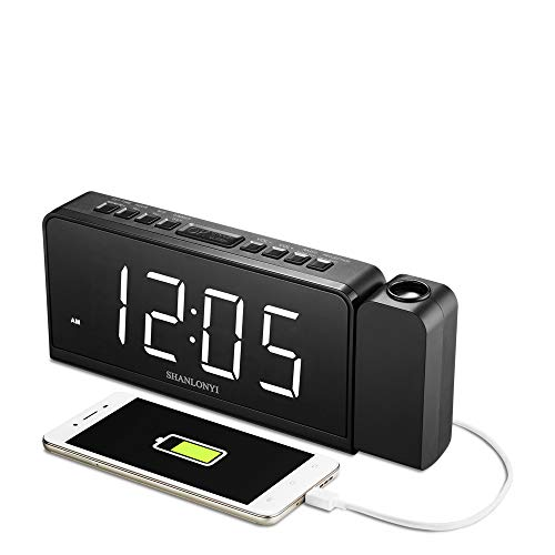 SHANLONYI Projection Alarm Clock Radio with AM/FM, Time Projector, Mobile Device USB Charging Station, Large 7