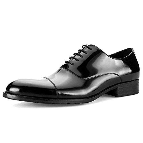 MERRYHE Uomo In Vera Pelle Di Vacchetta Oxford In Pelle Verniciata Business Lace-up Derby Shoes Festa Di Nozze Scarpa Da Lavoro Per Uomo Regali Black