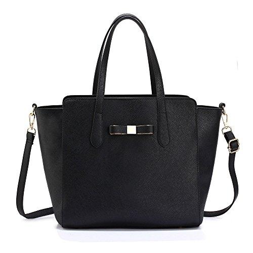 TrendStar - Bolso de tela para mujer negro D - Black/White Negro Bolso
