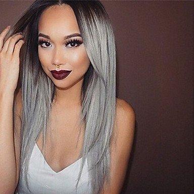 Negro raíz gris Color brasileño Virgen Pelo sin pegamento encaje peluca sedoso pelo liso Lace Front