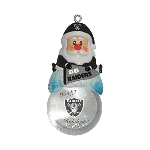 NFL Oakland Raiders Snow Globe Ornament, Silver, 1.5
