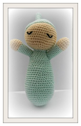 Amigurumi crochet stuffed green Sleeping Baby childrens toy animal plush child toy handmade collectable gift