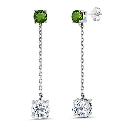 Gem Stone King 4.30 Ct Round White Topaz Green Chrome Diopside 925 Sterling Silver Earrings