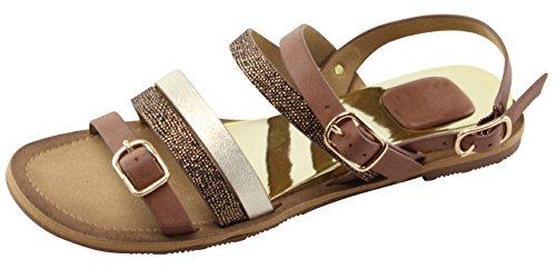 Cambridge Seleziona Sandali Flat Da Donna Con Fibbia Media E Cinturino Alla Caviglia