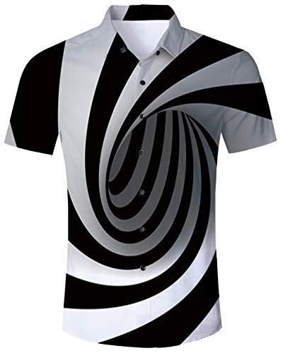 3D Print Graphic Men's Shirts Hawaiian Aloha Short Sleeve Button Down Polo Casual Black White Shirt Ugly Tee Novelty M ()