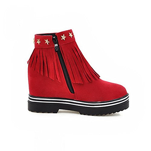 Round AgooLar Solid Heels Toe Women's Red Boots Suede High Imitated Zipper wSWqaf0SX