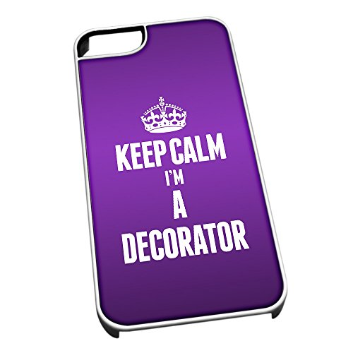 Bianco cover per iPhone 5/5S 2565 viola Keep Calm I m A Decorator