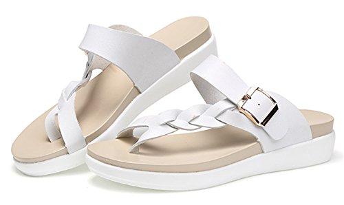 Été Tongs Ouvert Souple YOGLY Fille Femme Chaussons Bout de Sandales Cuir Flop Flip Blanc en Pantoufles Chaussures Plage EApRqpw