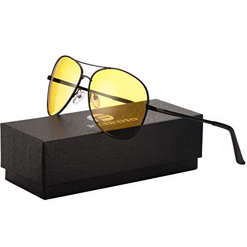 Night Vision Glasses for Driving - Feirdio HD night driving glasses anti glare polarized mens women glasses (black/yellow)