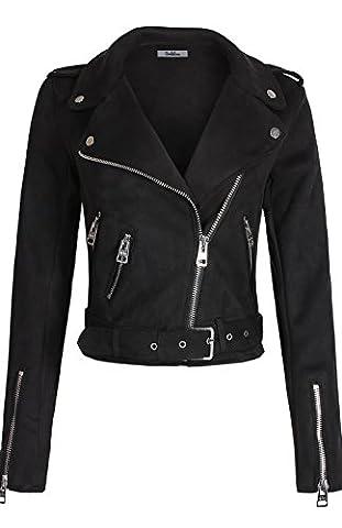 BodiLove Women's Slim Tailoring Suede Leather Zipper Moto Biker PU Bomber Jacket Black L - Faux Suede Blazer