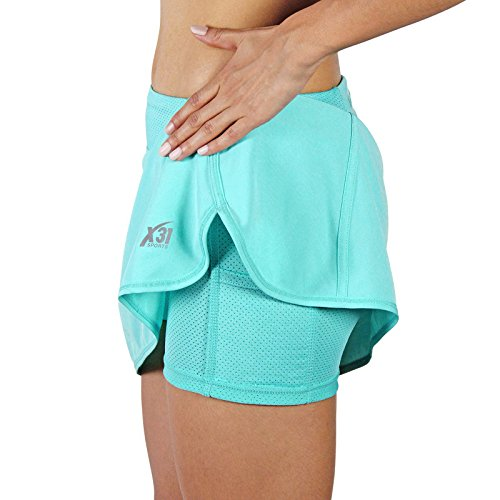 (X31 Sports Running Skirt Tennis Skort with Shorts and Pockets (Turquoise, Medium))